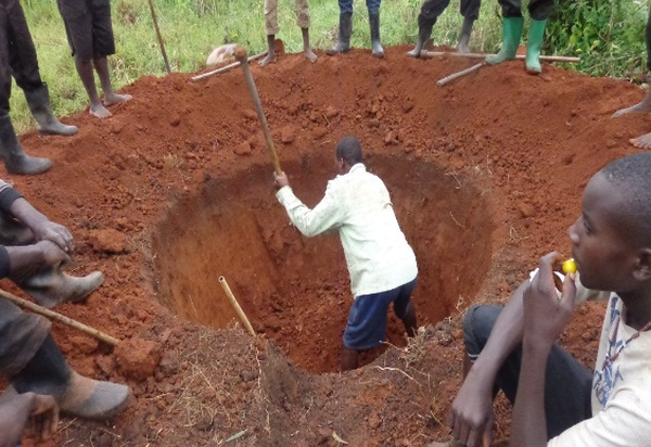 Preparation phase shallow well construction in Uganda well under way